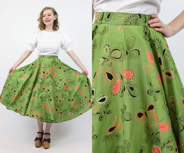1950s butterfly print full circle skirt xs | novelty print cotton | new in