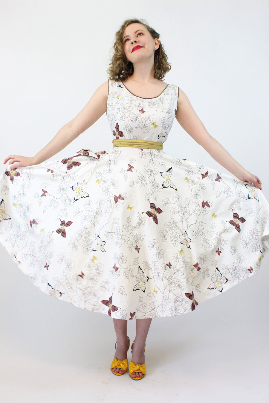 1950s butterfly print novelty dress xs | vintage rhinestones cotton | new in