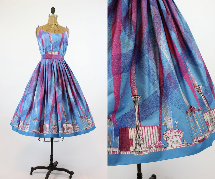 1950s Seattle world fair skirt and top xs | vintage novelty two piece set | new in
