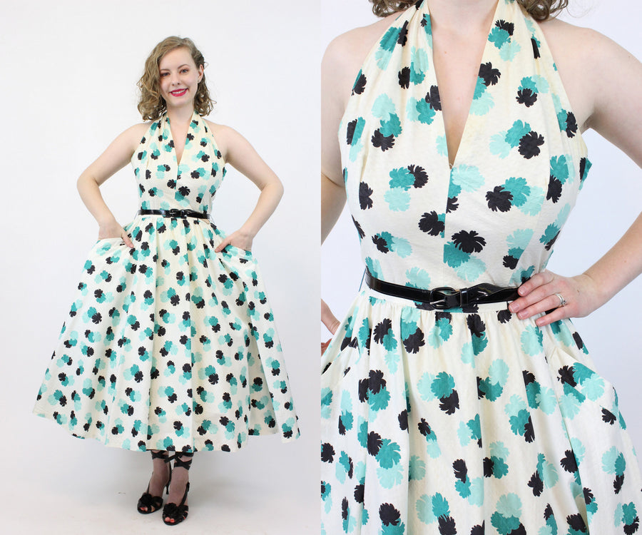 1950s cotton halter dress xs | vintage circle skirt dress | new in