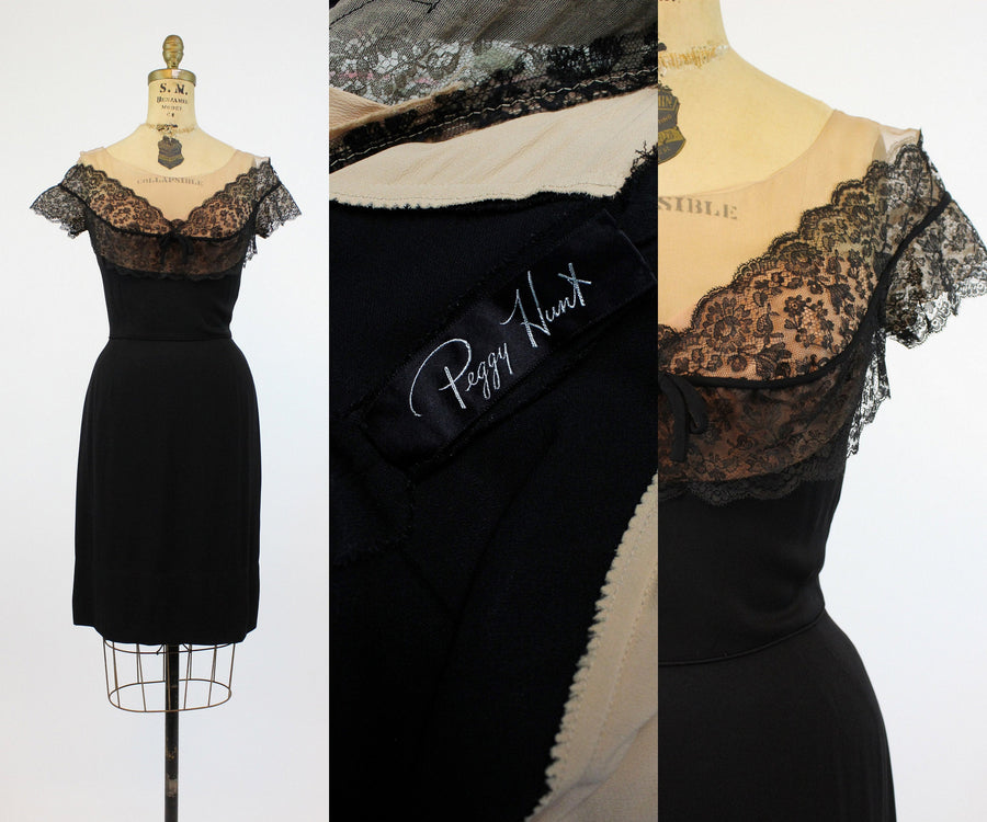 1950s Peggy Hunt dress small |  lace illusion neckline | new in