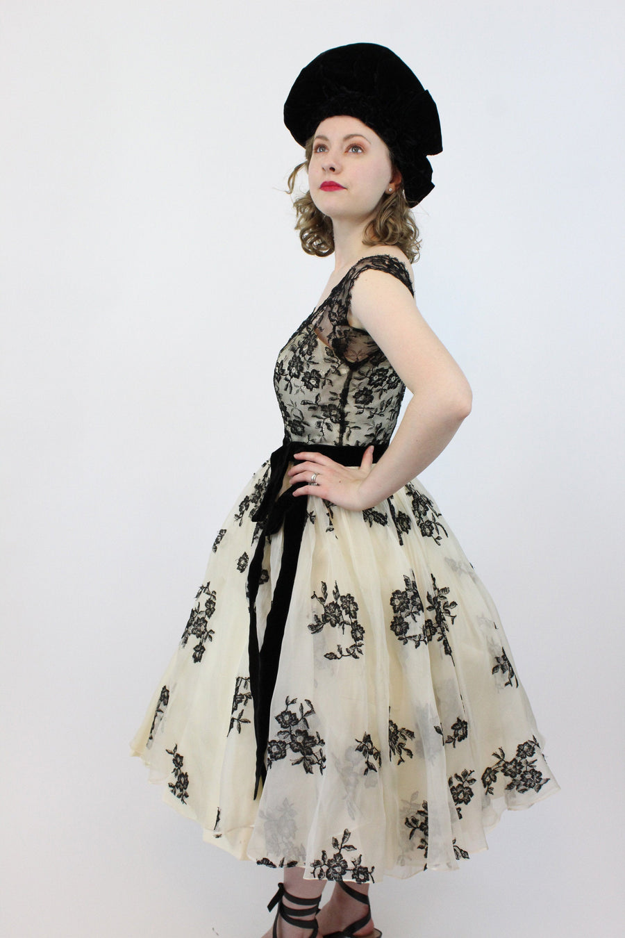 1950s Harvey Berin French lace silk dress xs  | vintage couture silk organza  full skirt | new in