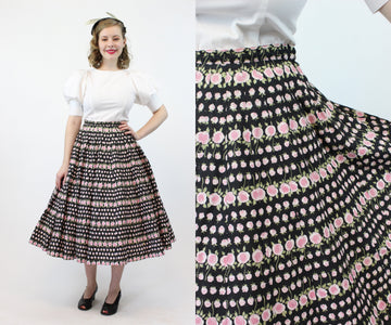 1950s cotton rose print skirt small | vintage full skirt | new in