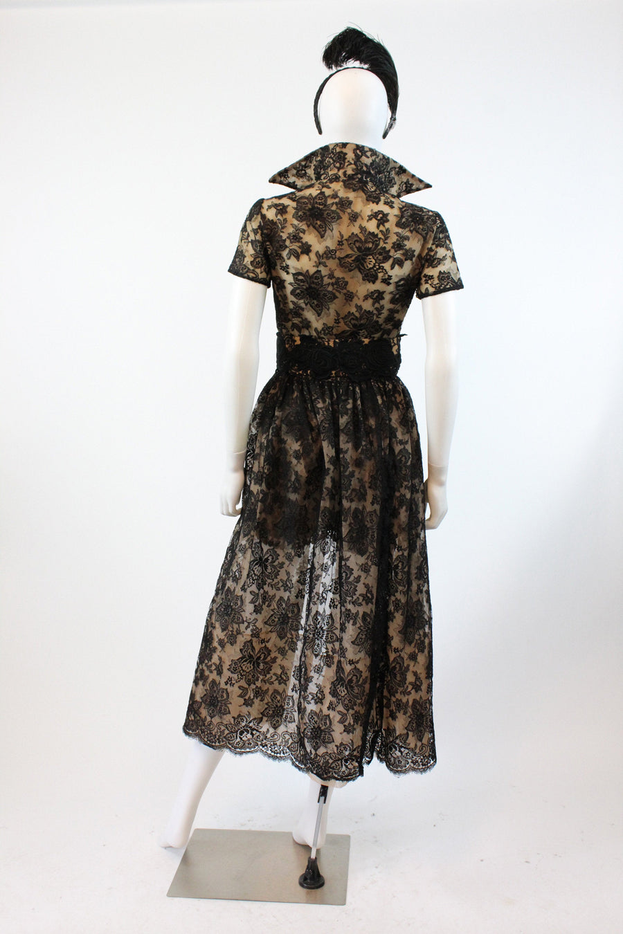 1950s RARE Lillie Rubin romper and overskirt xs | vintage lace three pieces dress | new in
