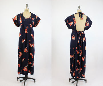 1970s Young Innocent leaf print dress xs | vintage open back dress | new in