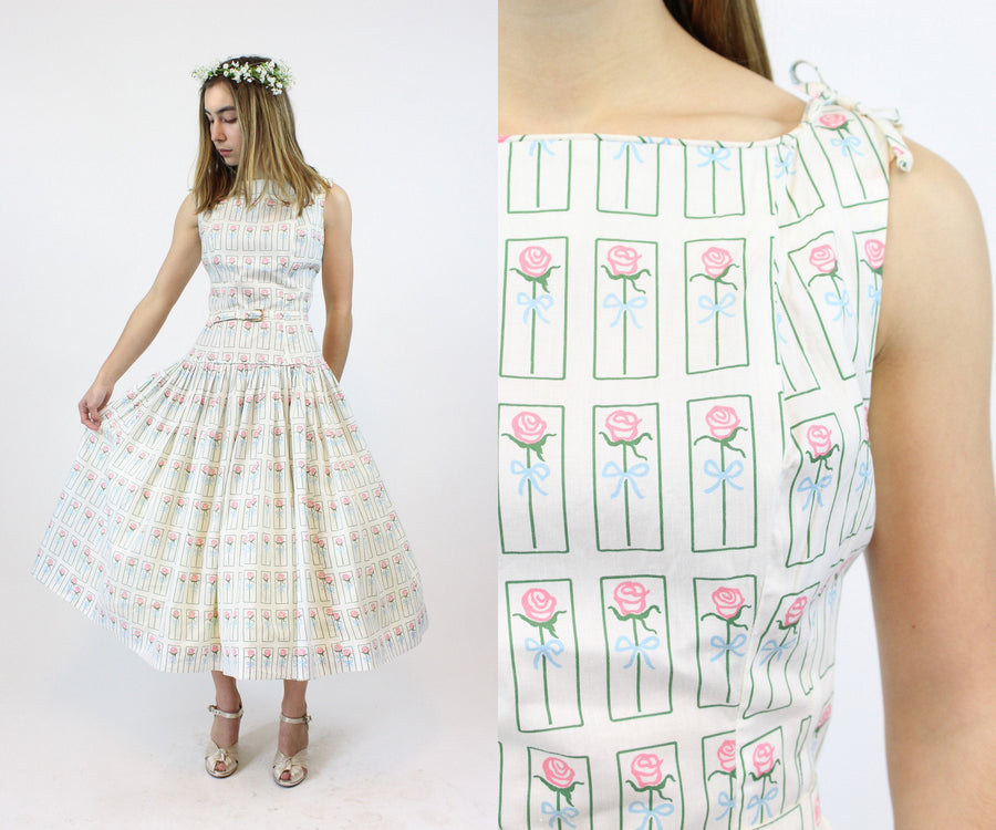 1950s rose cotton dress xs small | vintage full skirt dress | new in