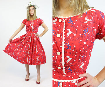 1950s Alex Colman deer print top and skirt xxs| novelty print dress | new in