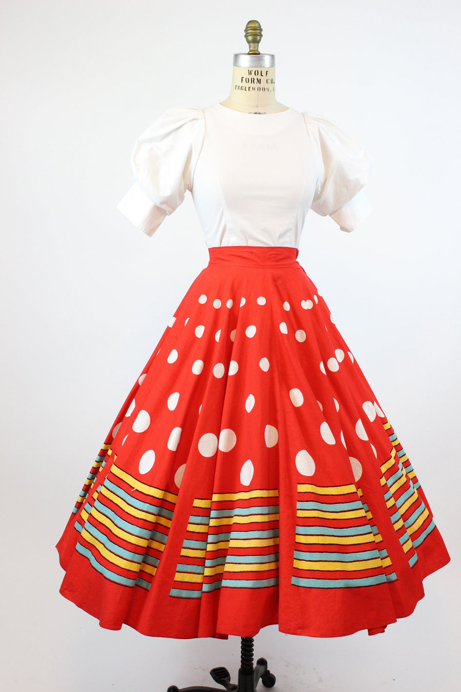 1950s polka dot and stripes full circle skirt xs | vintage cotton skirt | new in