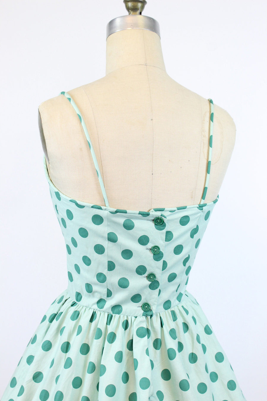 1950s green polka dot cotton dress small | vintage sun dress | new in