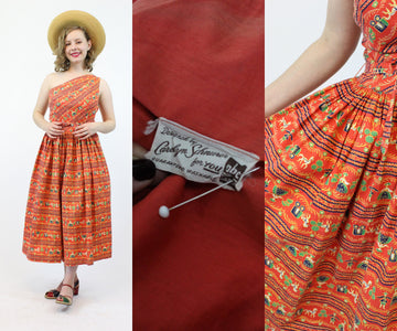 1950s Carolyn Schnurer one shoulder dress small | novelty print dress designer | new in