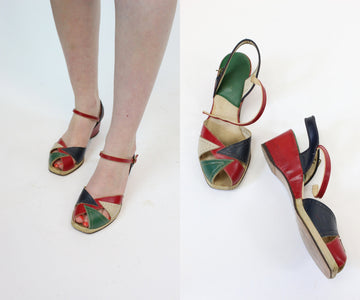 1940s peep toe sandals size 6 us | leather summer wedges shoes | new in