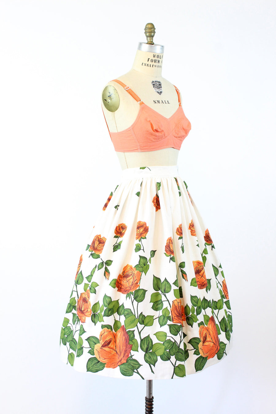 1950s fruit of the loom rose print skirt small medium | cotton pique skirt | new in