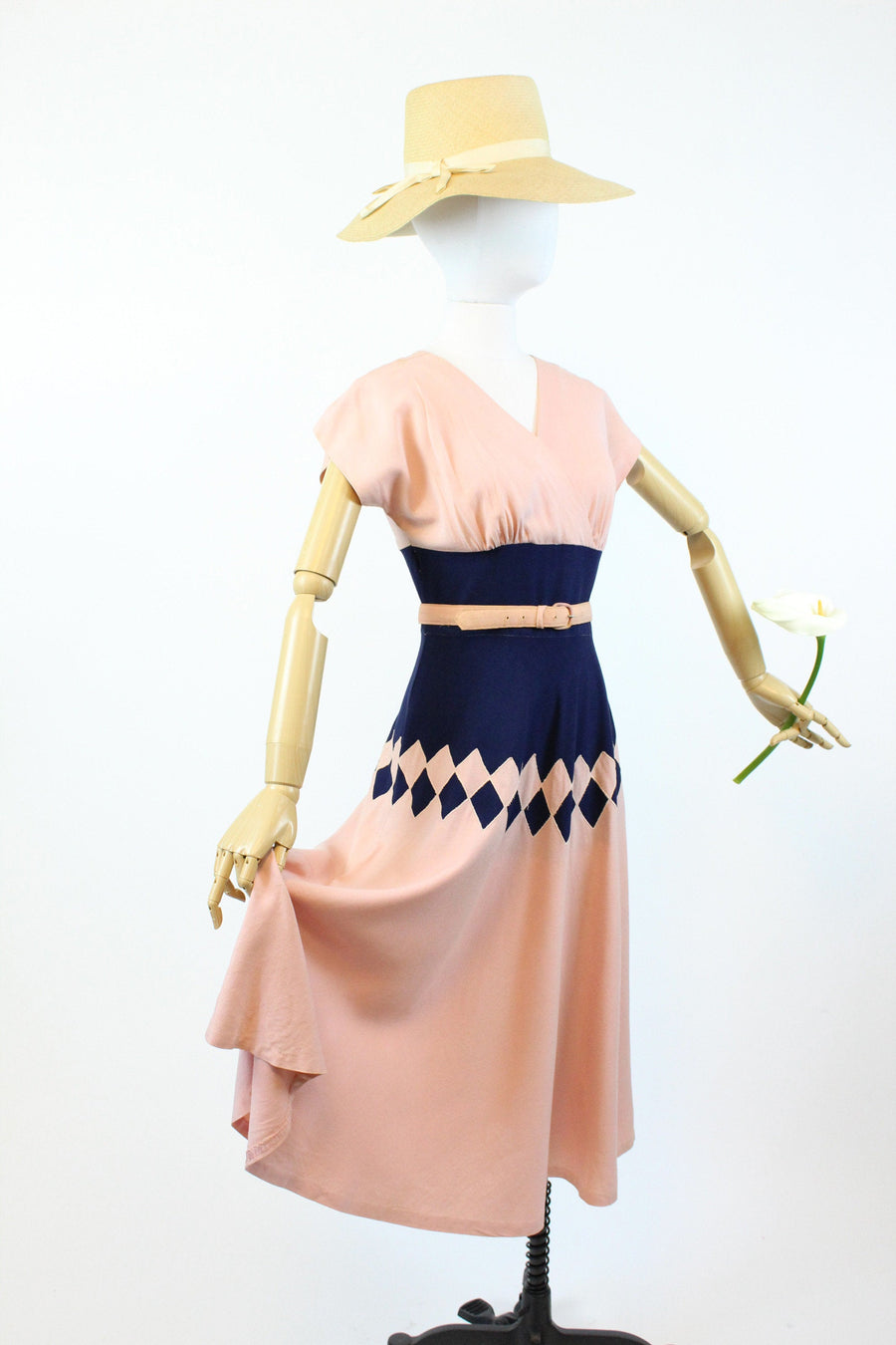 1940s harlequin linen dress xs |  vintage navy and pink dress | new in