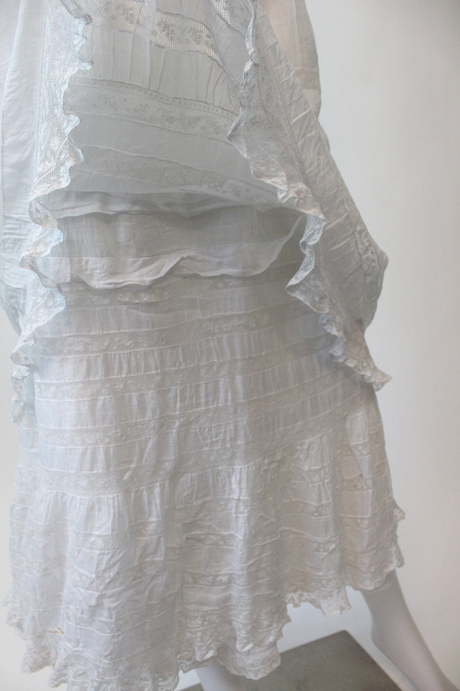 edwardian vintage cotton lace dress xxs | vintage triple layer dress | new in