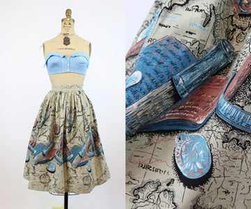 1950s MAP PRINT cartography skirt xxs | new spring