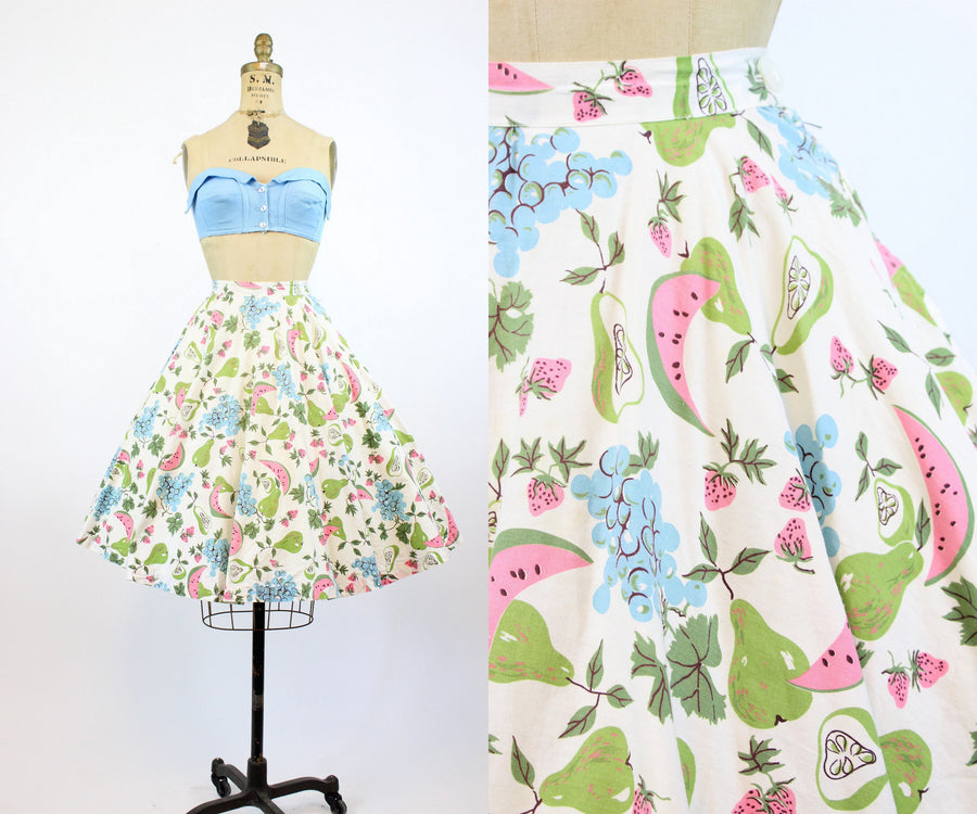 1950s watermelon fruit print skirt xs | vintage novelty circle skirt | new in
