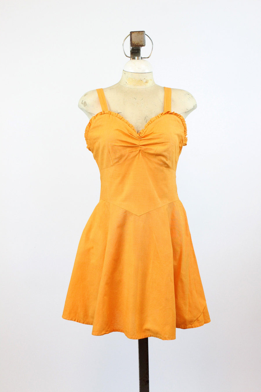 1940s tangerine playsuit dress medium large | vintage swim dress with briefs romper | new in