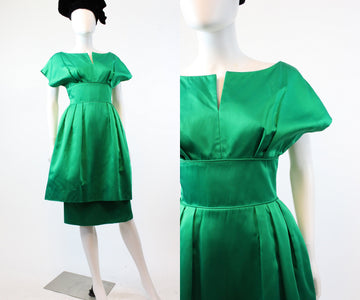 1950s Mitzi Morgan green satin dress xs | vintage double skirt | new in    PC