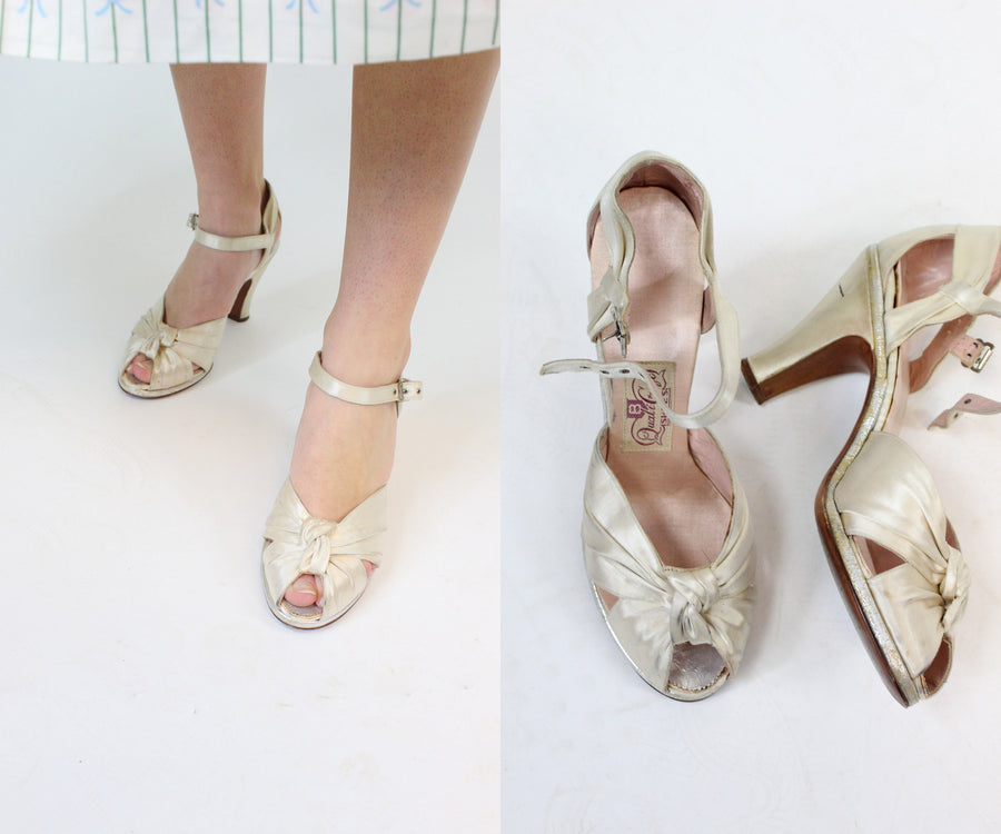 1940s satin wedding shoes size 6 us | vintage knotted sandals | new in