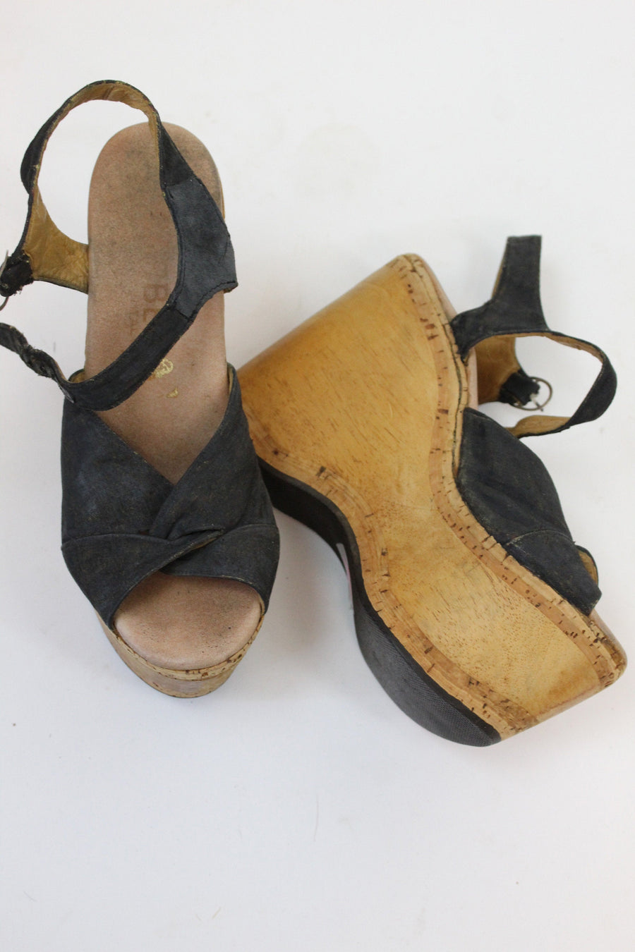 1970s Carber cork platforms size 6.5 us | vintage wood wedge shoes | new in