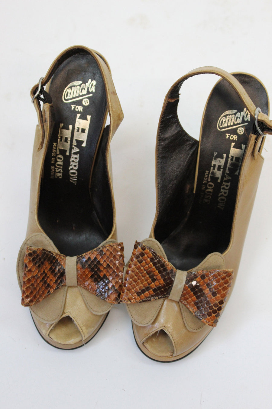 1970s slingback shoes size 7 us | vintage snake bow peep toe sandals | new in