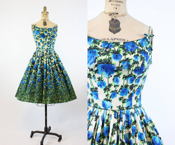 1950s blue roses polished cotton dress xs | vintage floral sun dress | new in   PC