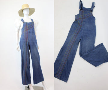 1970s denim rainbow overalls xs | wide leg jumpsuit | new in