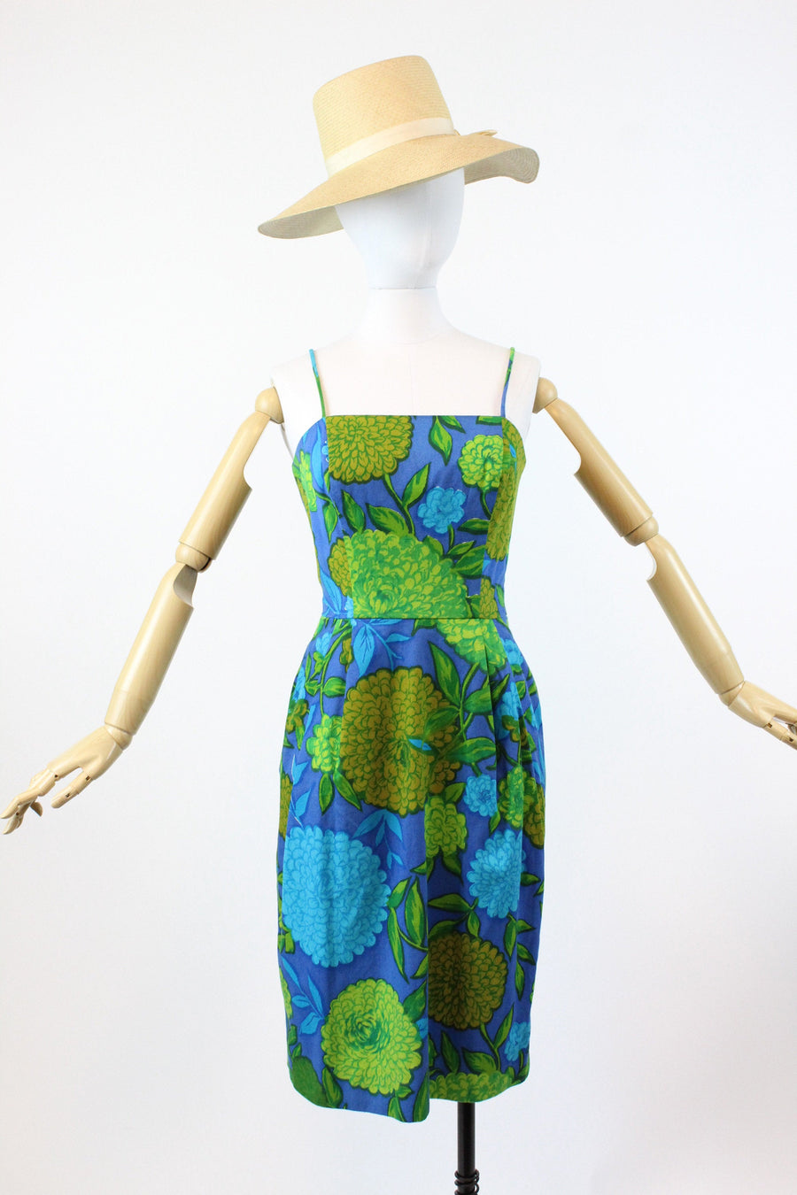 1960s BOLD floral wiggle dress xs  | vintage barkcloth dress | new in