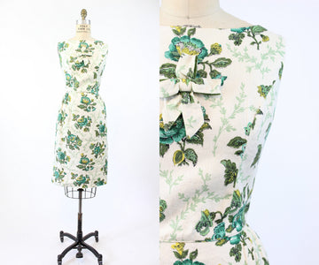 1960s linen floral wiggle dress xs small | vintage bow dress | new in