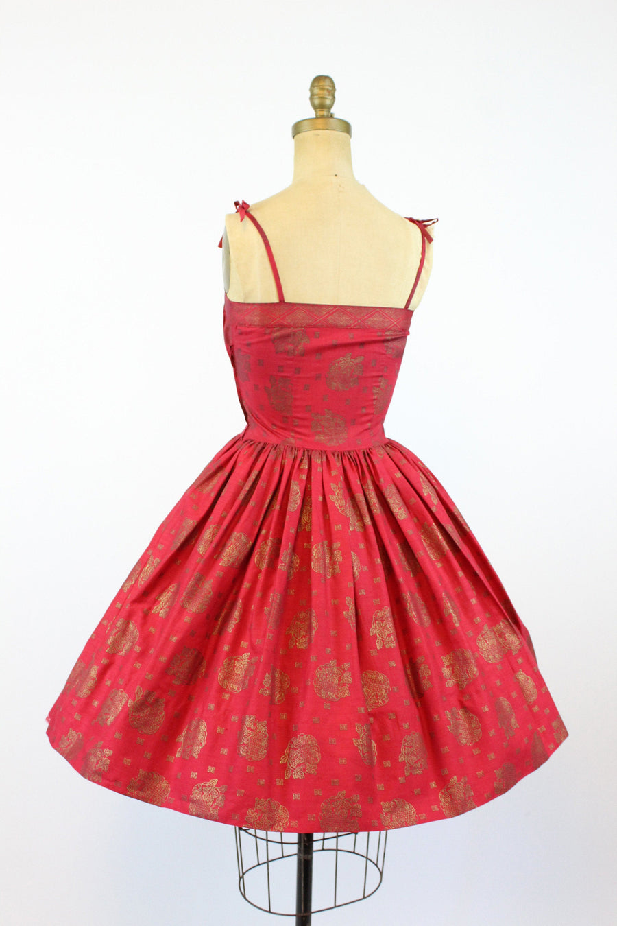 1950s indian print dress xxs | vintage red and gold sun dress | new in