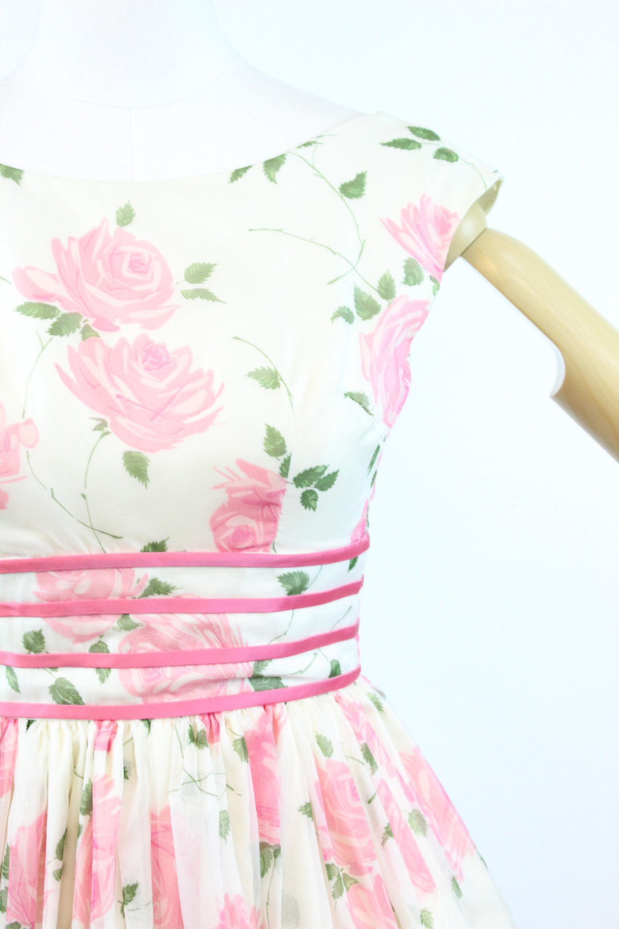 1950s rose print organza dress xxs | vintage floral dress | new in
