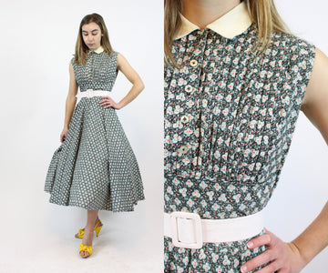 1940s cotton ditsy floral print dress xxs | vintage cotton circle skirt | new in