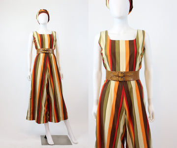 1950s 1960s striped jumpsuit medium | vintage cotton playsuit | new in