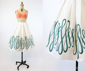 1950s Nelly de Grab calligraphy skirt xxs | vintage novelty cotton skirt | new in