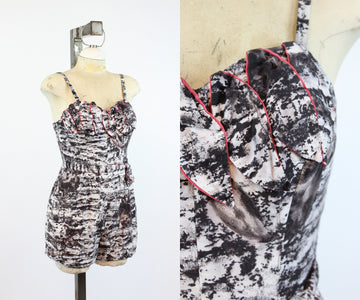 1950s Alix of Miami cotton petal bust romper playsuit xs | vintage cotton swimsuit | new in