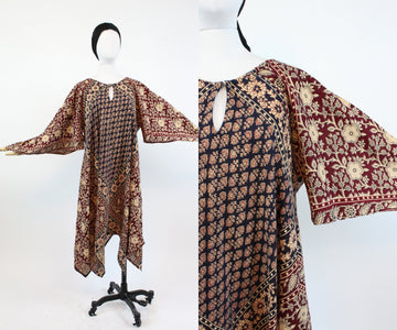 1970s Indian cotton caftan dress | vintage angel sleeves handkerchief hem | new in