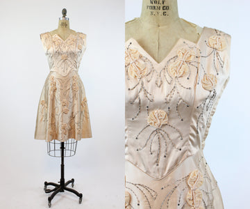 1950s Miss Cane sequin rhinestone dress medium | vintage rosette dress | new in  PC