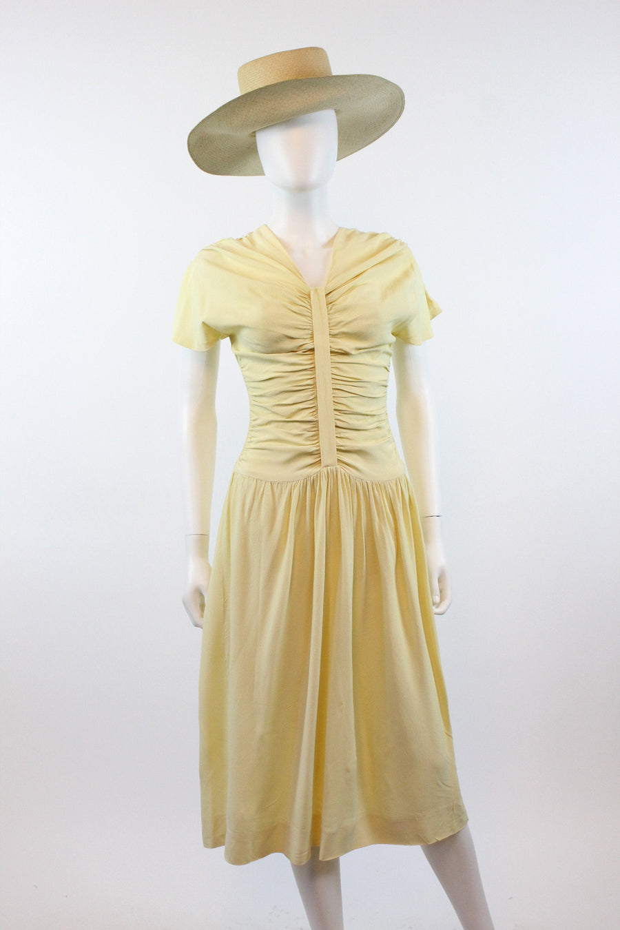 1940s Jourdelle of Hollywood cornsilk rayon dress small | vintage dress | new in