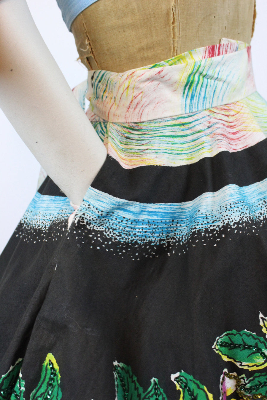 1950s hand painted mexican skirt small medium | sequin roses skirt | new in