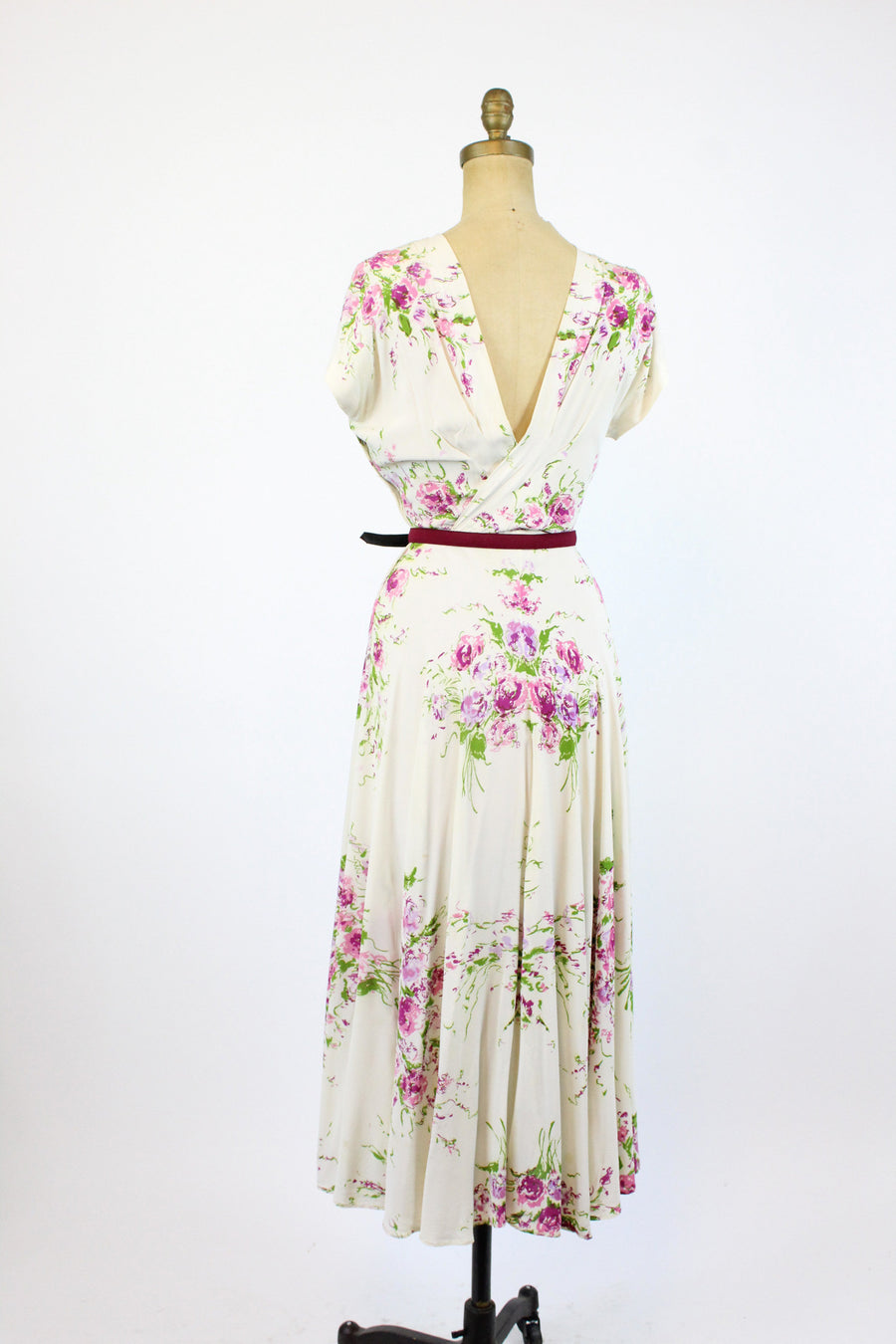 1940s rayon floral gown with 3d sequin flowers xs  | 40s rayon dress | new in