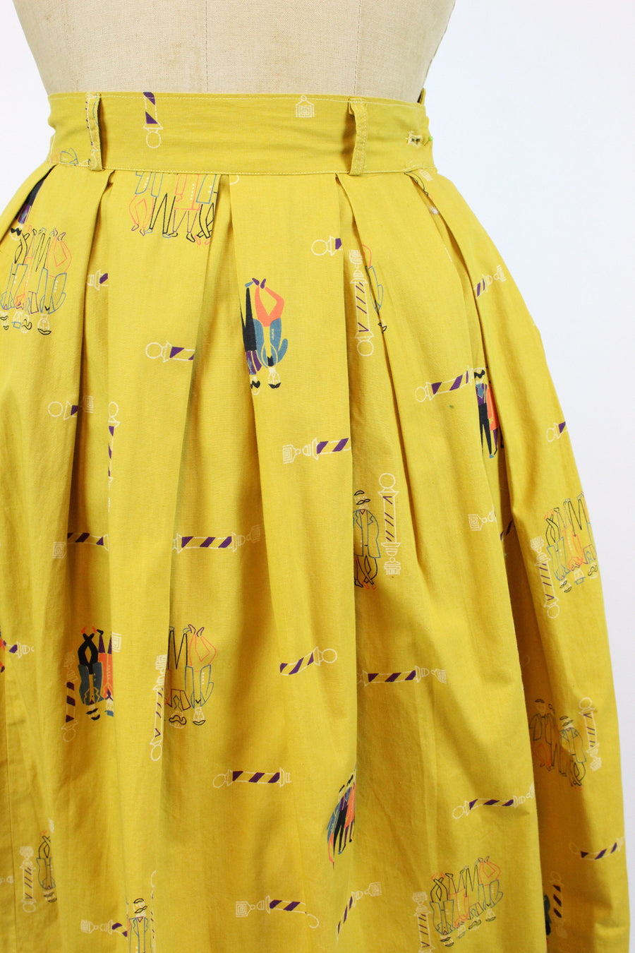 1950s barbershop quartet novelty print skirt xxs | vintage cotton skirt | new in