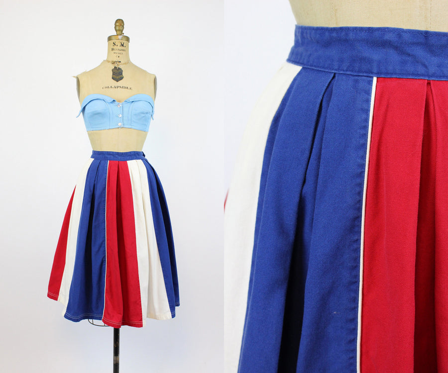 1950s cotton tri color skirt xs | vintage colorblock full skirt | new in