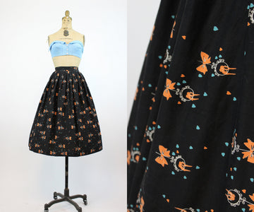 1950s lovebird and heart print skirt xs | vintage novelty cotton skirt | new in
