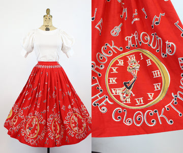 1950s rock around the clock skirt xs | vintage novelty cotton skirt | new in