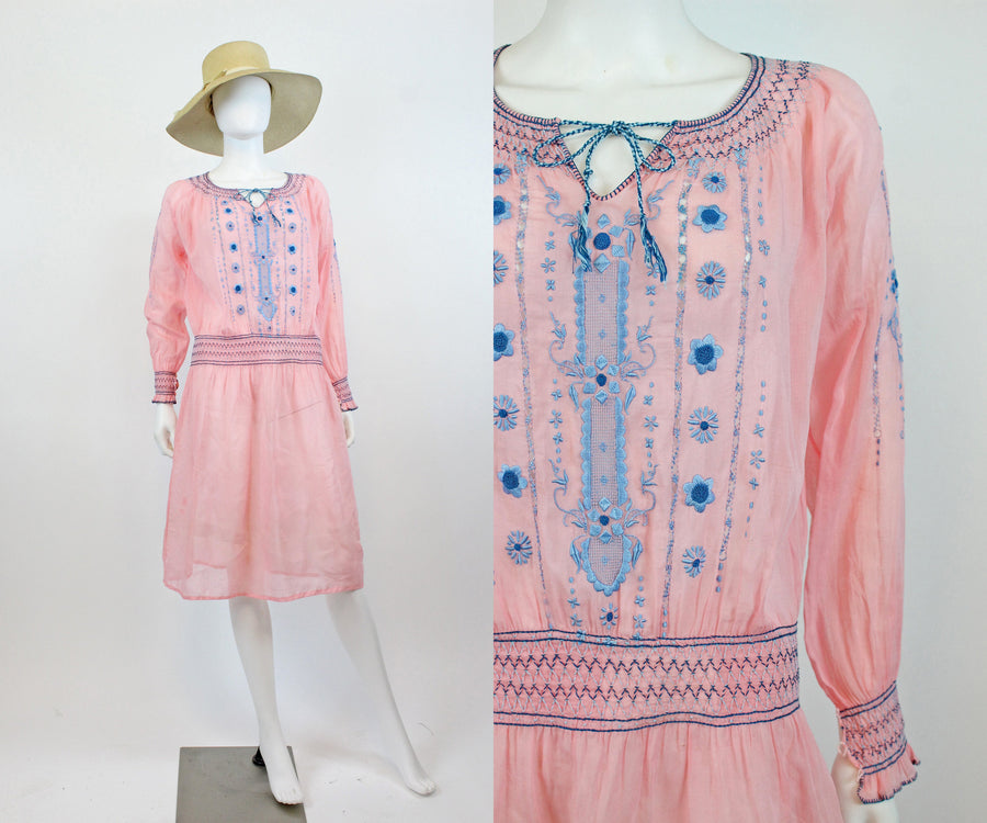 1920s RARE PINK Hungarian peasant dress small | vintage embroidered dress | new in