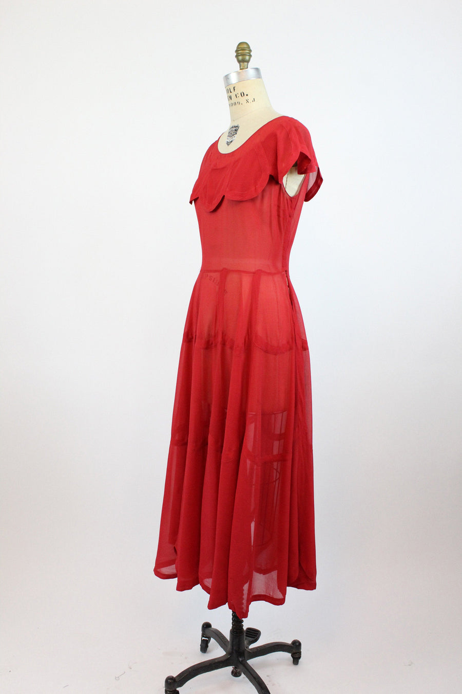 1930s red silk chiffon scalloped dress xs  | 1930s cape gown | new in
