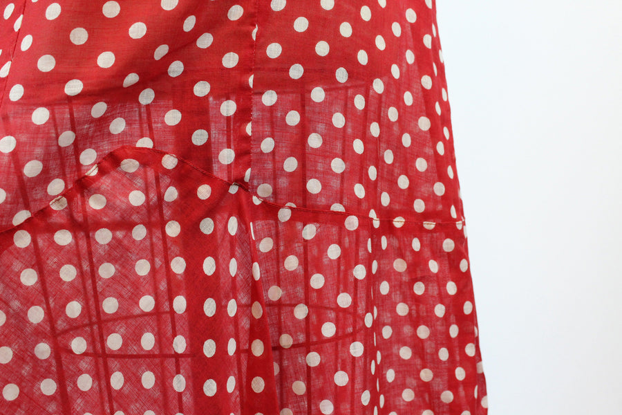 1930s RARE unworn cotton polka dot dress small medium |  belted 1920s dress | new in