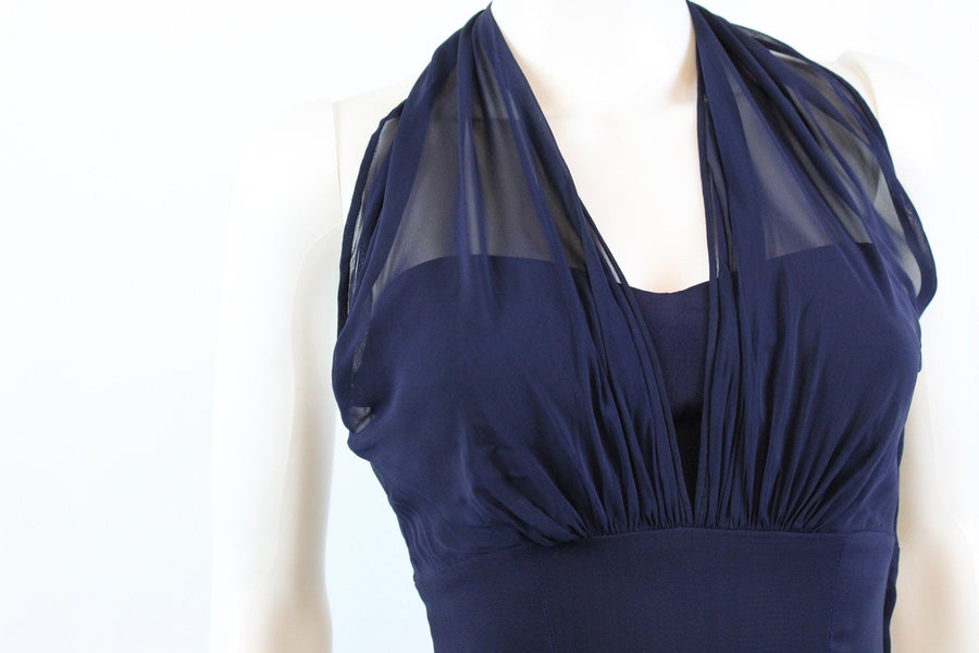 RARE 1940s Ceil Chapman halter dress | vintage navy silk dress | new in