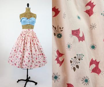 1950s kitty fabric skirt xs | novelty print cat skirt | new in
