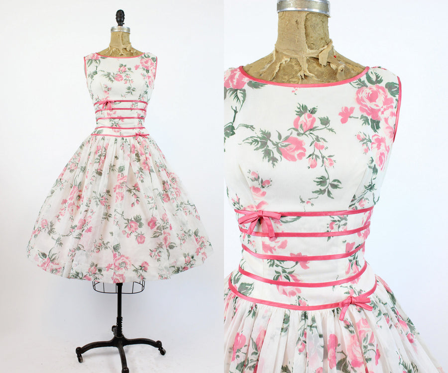 1950s rose print organza dress medium | vintage floral dress | new in